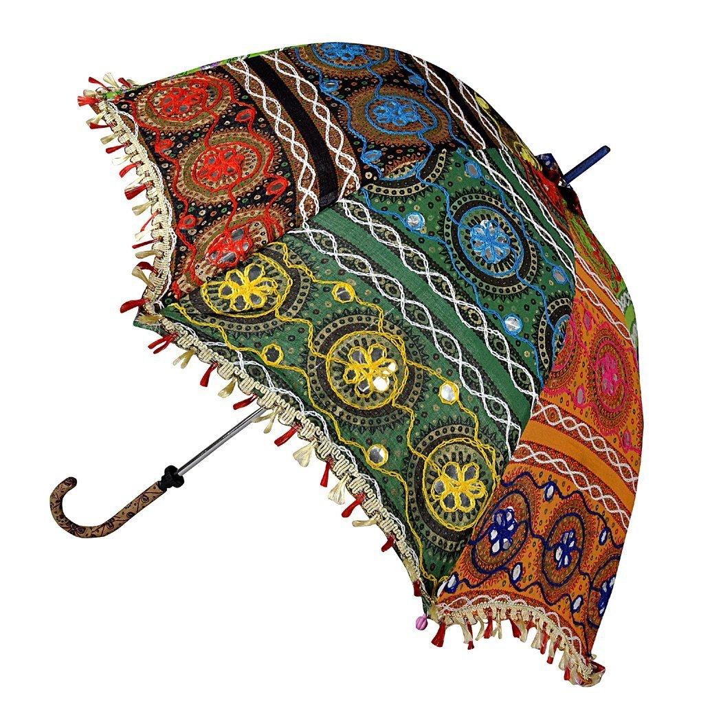 Jaipuri Handmade Embroidered Design Cotton Decorative Umbrella 30 X 34 Inches