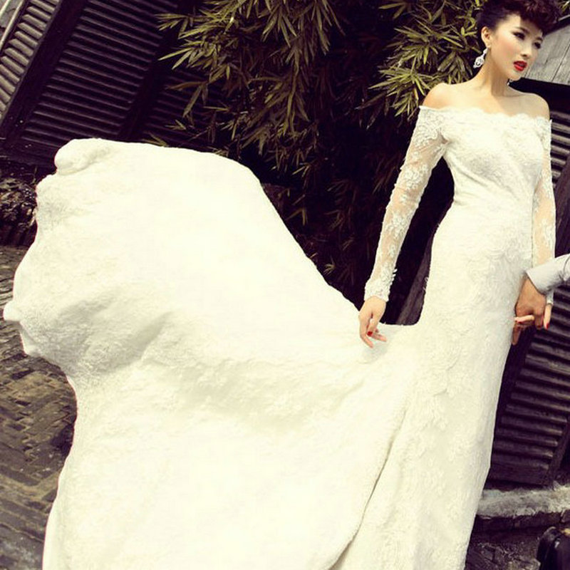2015 Summer Lace Mermaid Wedding Dress Fashionable Vintage White Wedding Dresses Bride Gown Long Sleeves vestido de noiva WD2081