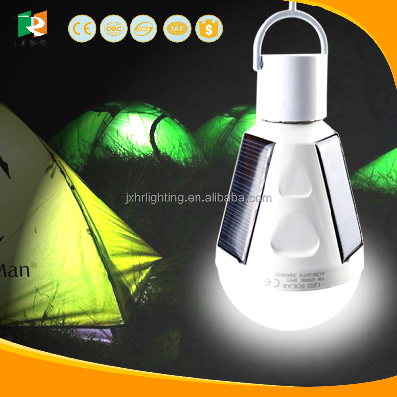 2017 New Camping E27 solar led emergency bulb rechargeable with battery inside back up 5 hours IP 65