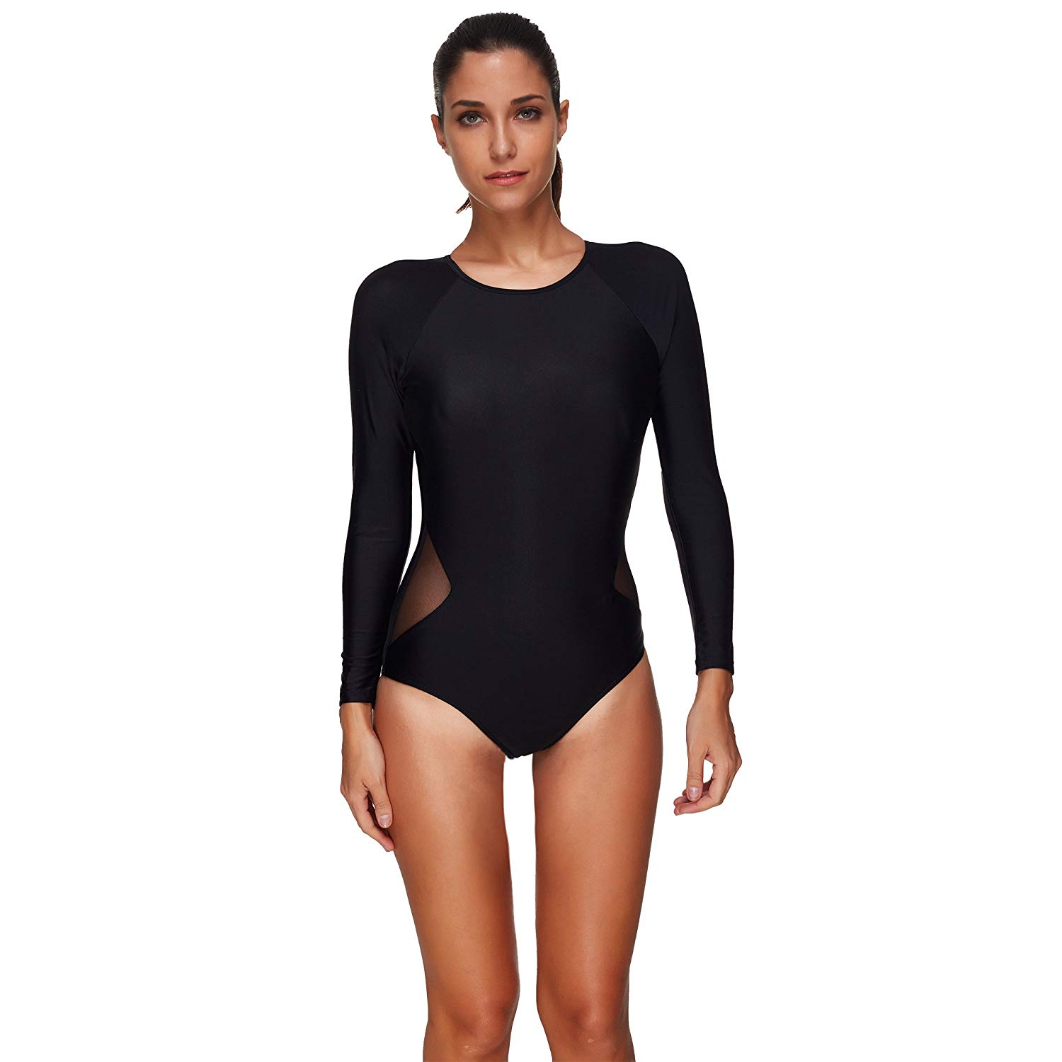 eeec849bf2e Get Quotations · BaronHong Women One Piece Swimsuit Bathing Suits Long  Sleeves Summer Black Halter Bikini Plus Size