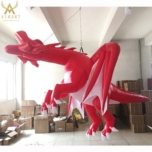 4m in stock inflatable red dragon model for car exhibition trade show indoor ceiling decoration