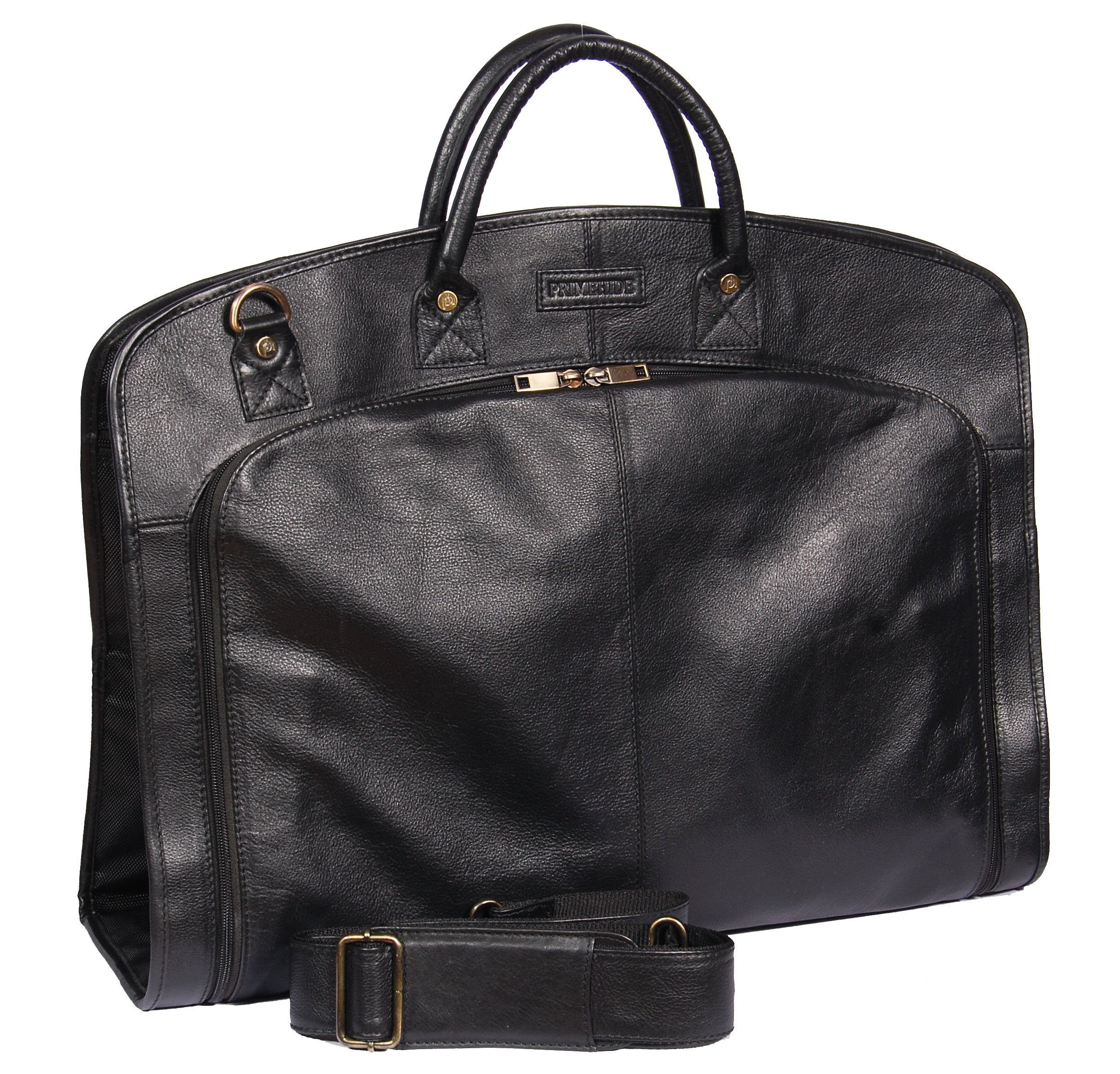 92f4a6d35f Get Quotations · Genuine Soft Leather Suit Carrier Bag Black Dress Garment  Cover Travel Bag A173