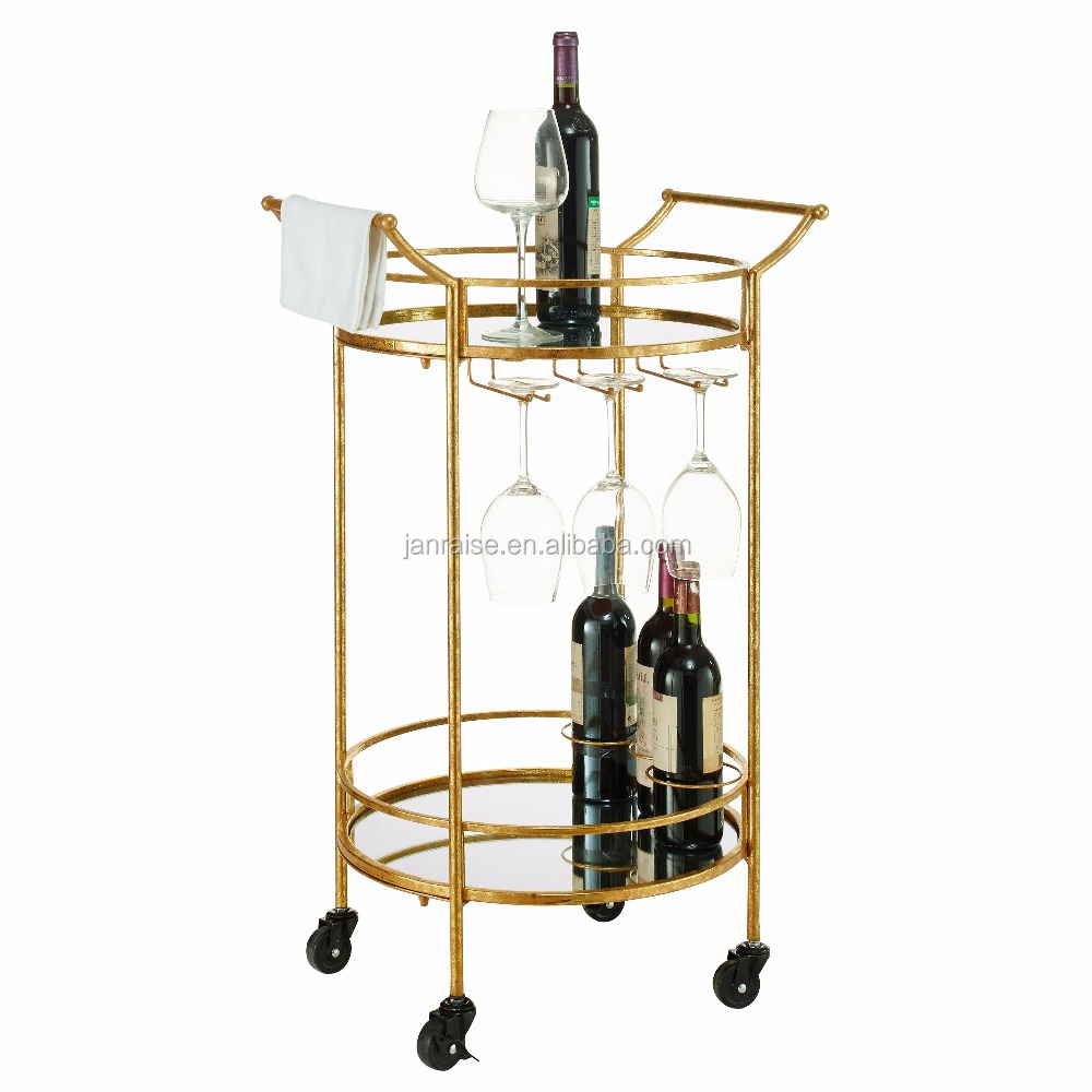 Round Gold Metal temper glass rolling bar utility cart