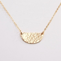 Simple Medium Half Moon Gold Disc Necklace Hammered Silver Crescent Moon Necklace
