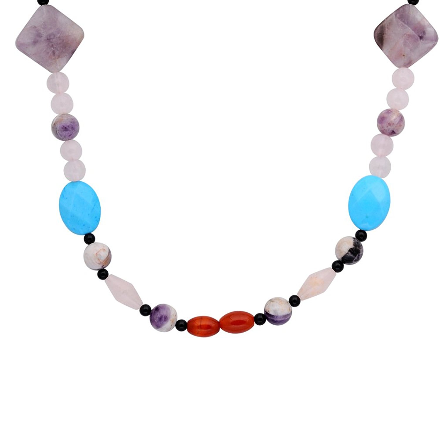 Orchid Jewelry Solid Sterling Silver Rose Quartz, Black Onyx, Turquoise, Amethyst Beaded Necklace