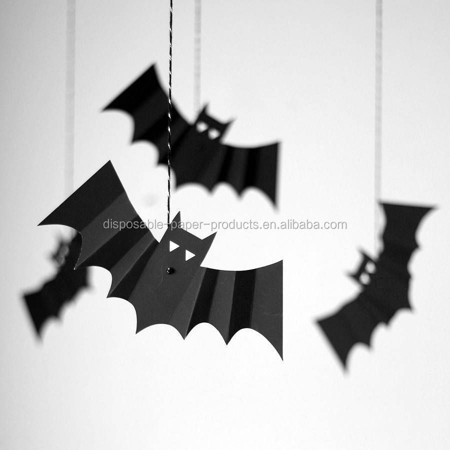 Party Supplies Hanging Bats Decorations Set Of Eight Paper Product On