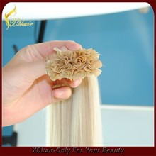 Double drawn white blonde remy Brazilian human hair extension, keratin nail tip hair extensions