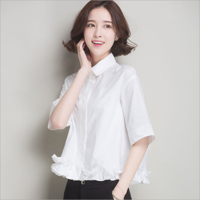 2017The new Korean style long sleeve loose shirt in spring