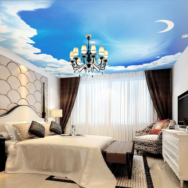 blauen himmel fototapete 3d galaxy tapete sterne mond decke schlafzimmer kinderzimmer dekor bar. Black Bedroom Furniture Sets. Home Design Ideas