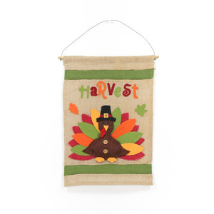 Thanksgiving Day Decorative Eco Friendly Flex Burlap Flag