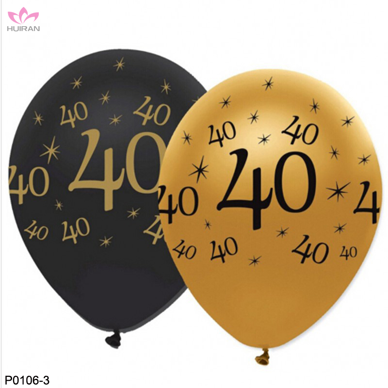 12inch 40 Year Old Gold And Black Happy Birthday Balloon