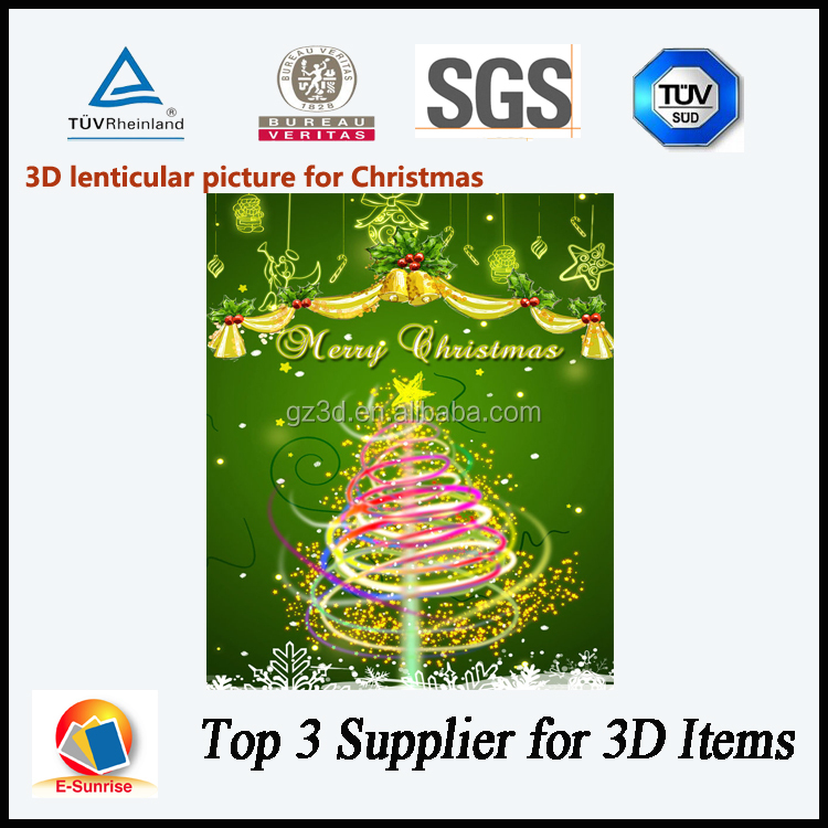 3 Dimensional Lenticular Card/Christmas Picture 3D Lenticular Card