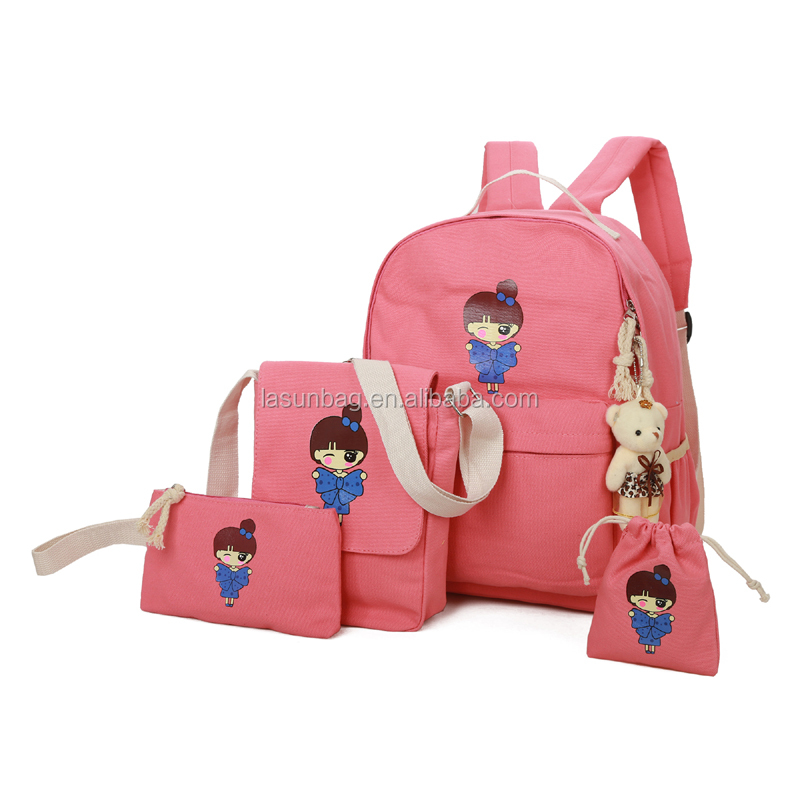 db05bcb56685 2018 Latest Cute Fashion Girls School Bag Set Student Canvas Backpacks