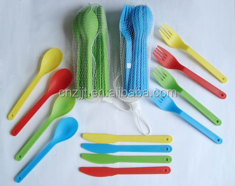 colorful plastic fork and spoons and knife set