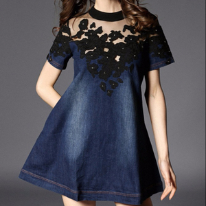 b46af3d652 Navy Blue Lace Dress