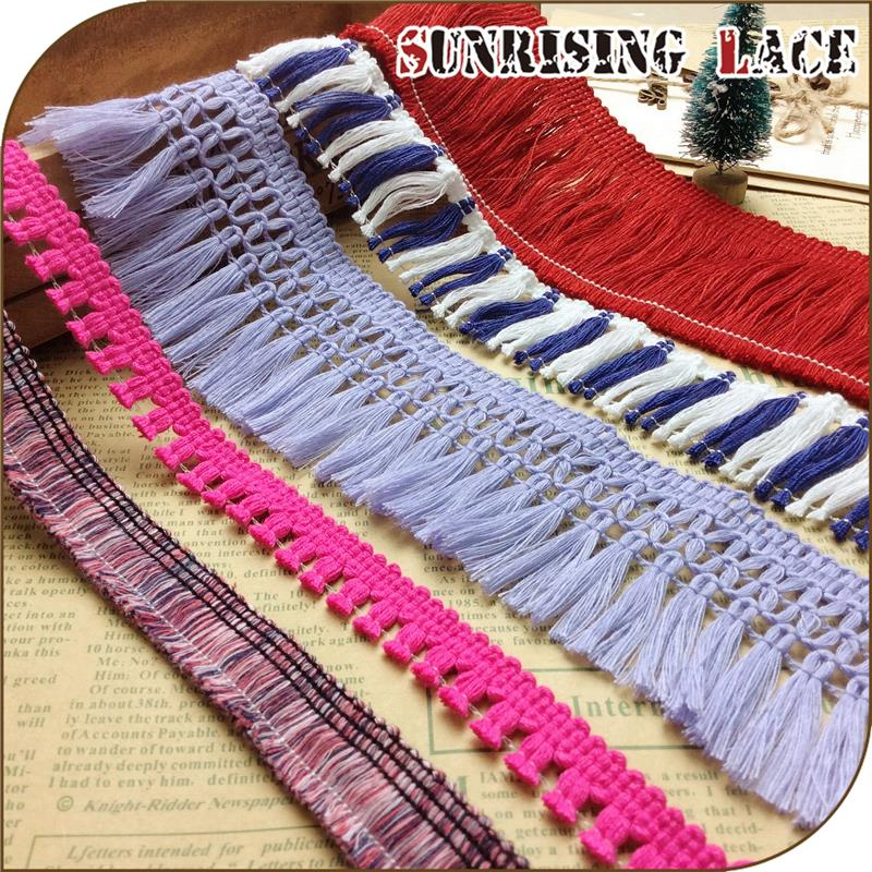 Wholesale Multicolor Custom Short Or Long Cotton Tassel Fringe Trim