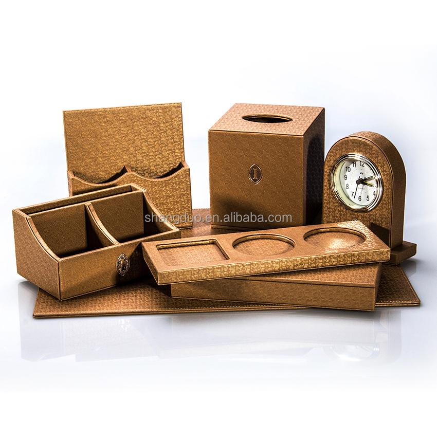 2017 Promotion Luxury Mdf Desk Set Office Leather Stationery