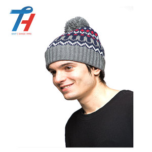 China Factory Directly Wholesale Cheap Price Winter Puffball Beanies Hats With Your Own Pattern