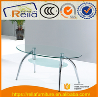 Clear Top Oval Tempered Glass Frosted Shelf Coffee Table