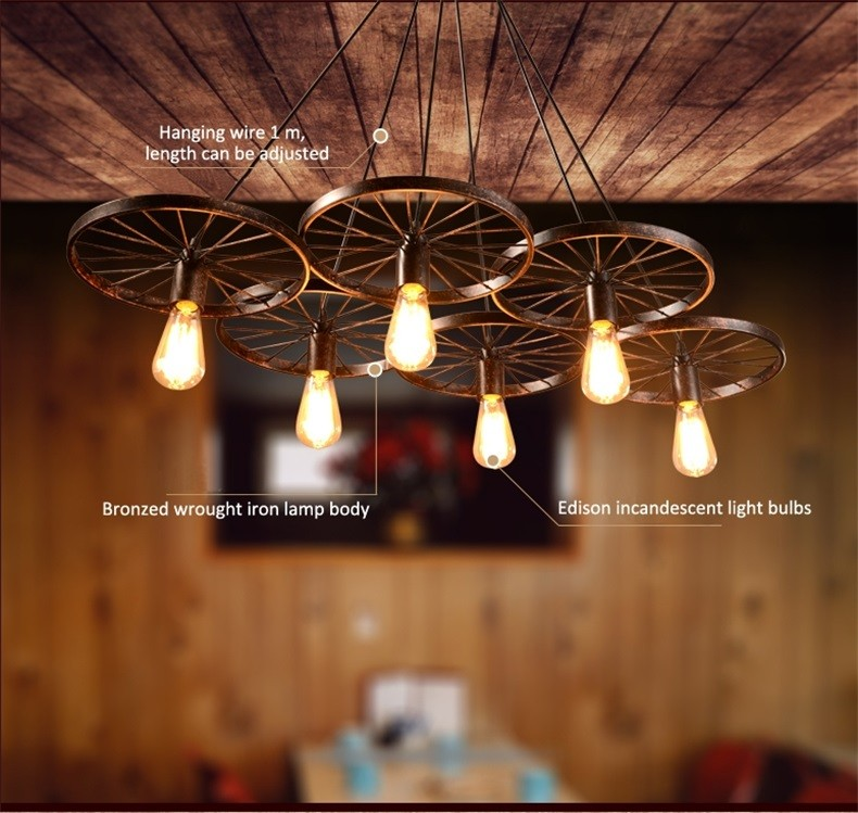 Retro Diy Loft Bicycle Wheel Shape Large Chandelier Eight Heads ...