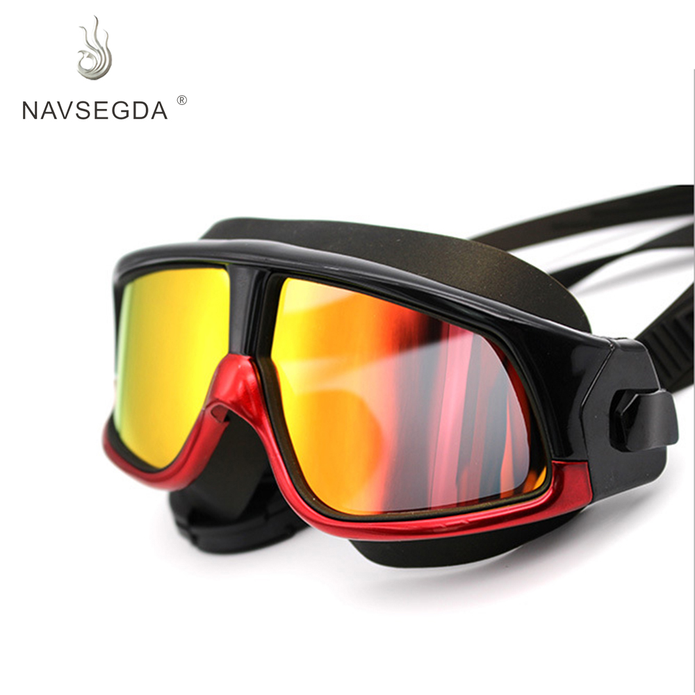 2019 hot sports eyewear grande cornice di nuoto occhiali Hd impermeabile anti-fog diving occhiali gel di silice per lo sport