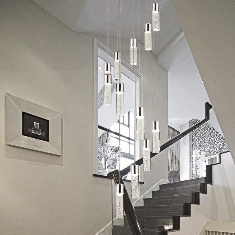 European wholesale design spiral decorative acrylic bubble modern long pendant light led staircase chandelier for high ceilings