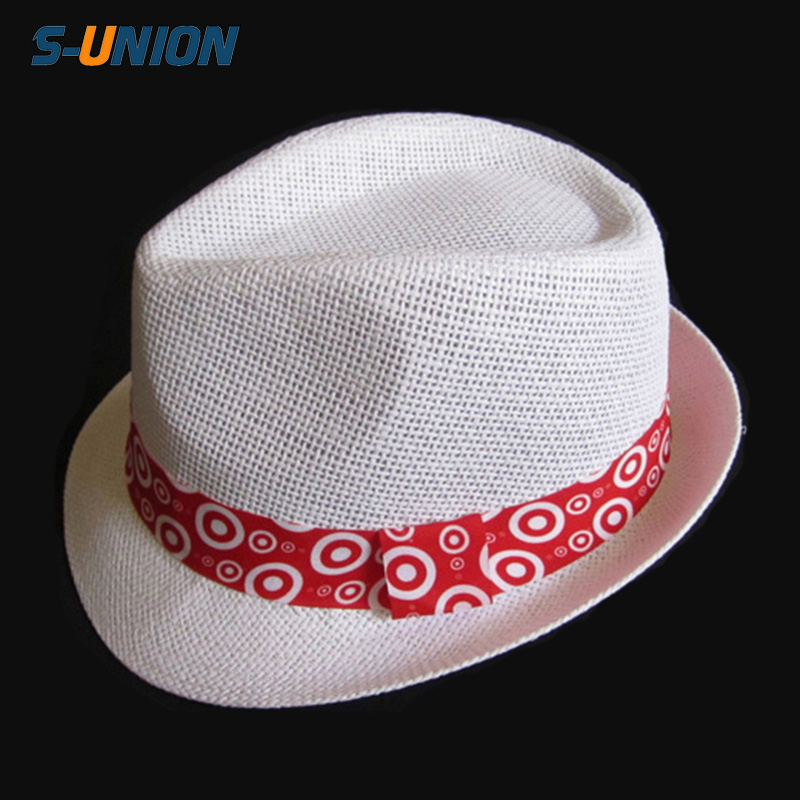 Personalized promotional custom logo band women paper straw fedora hats  wholesale white fedora hats for men d3e9b9a5601