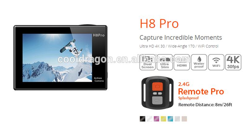 Cooldragon EKEN H8 pro 2 inch TFT LCD 0.96 inch OLED zoom digital action camera made in China