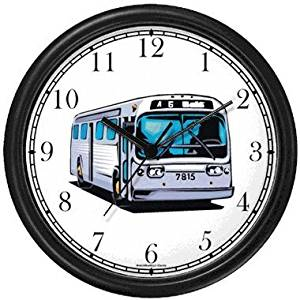 City Municipal Transit Transportation Bus No.2 Wall Clock by WatchBuddy Timepieces (Black Frame)
