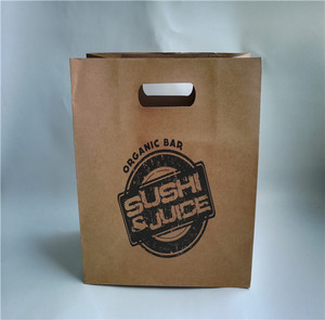 Runxing eco friendly raw materials of die cut handle restaurant take out paper bag