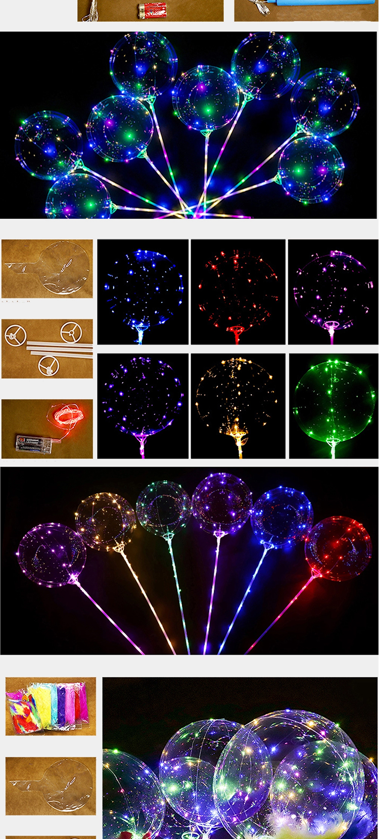 18 inchInflatable Multi Kleur Lights String Ronde Helium Ballonnen Outdoor Party Knipperende LED Bobo ballonnen Voor Kerst