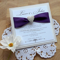 purple silk with pearl and box wedding invitations card & lavender