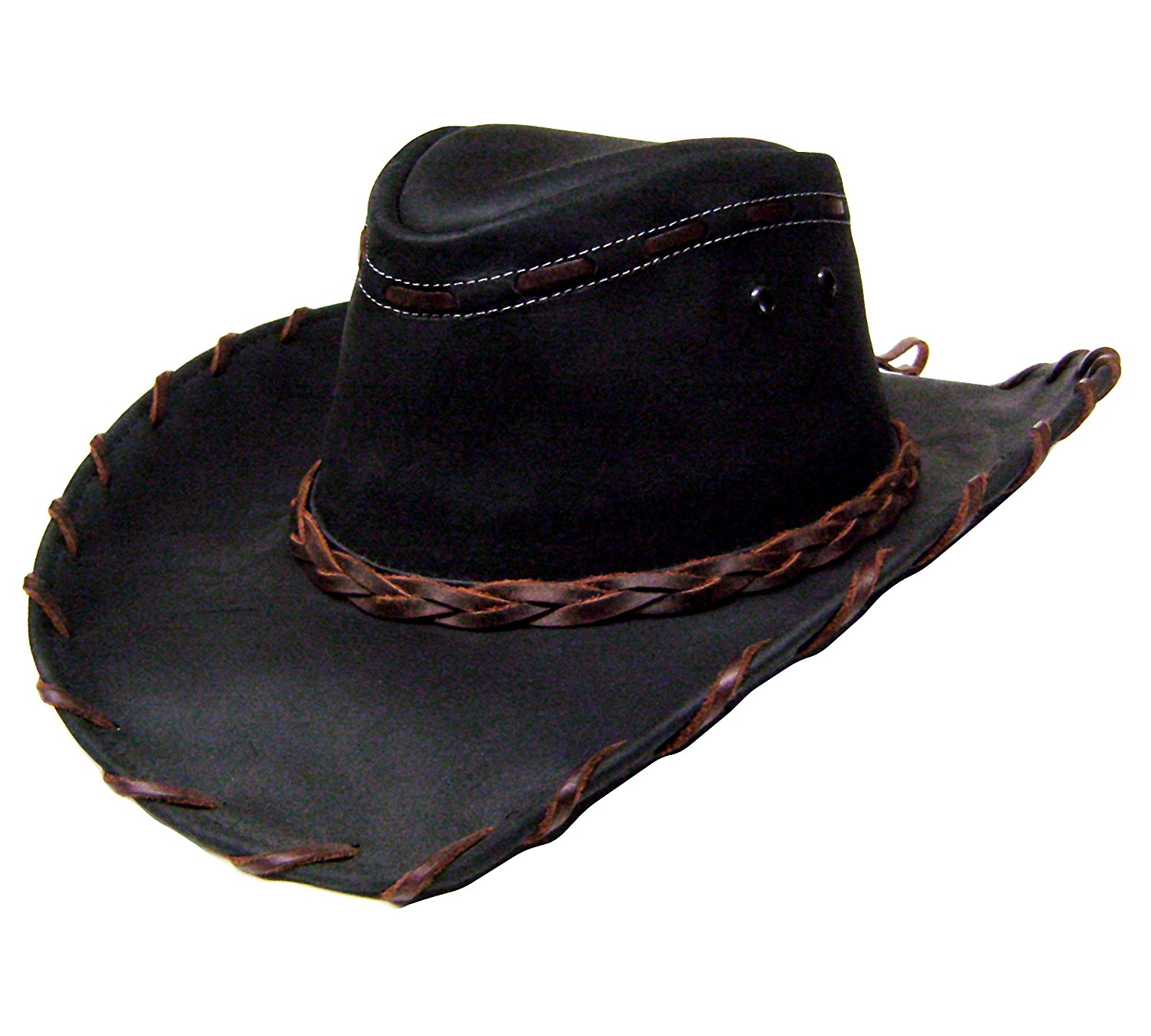 "18fe694087fe3 Get Quotations · Modestone Unisex Leather Cowboy Hat Lacing ""Sizes For  Small Heads"" Black"
