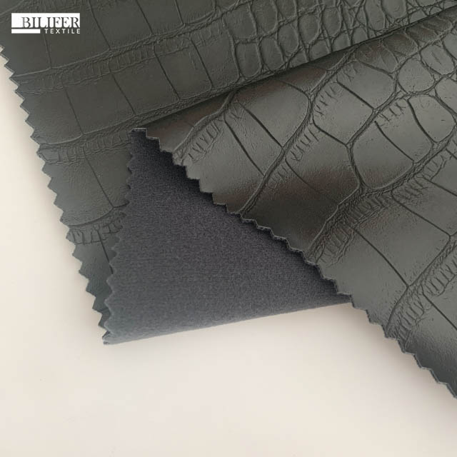 china fabric market wholesale crocodile pu leather embossed artificial leather