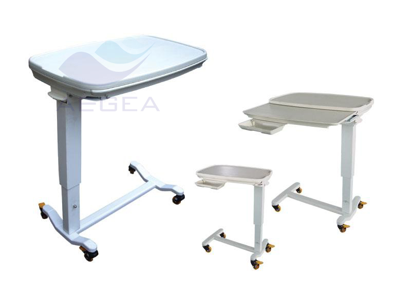 AG-OBT013 height is adjustable ABS over bed table hospital food table