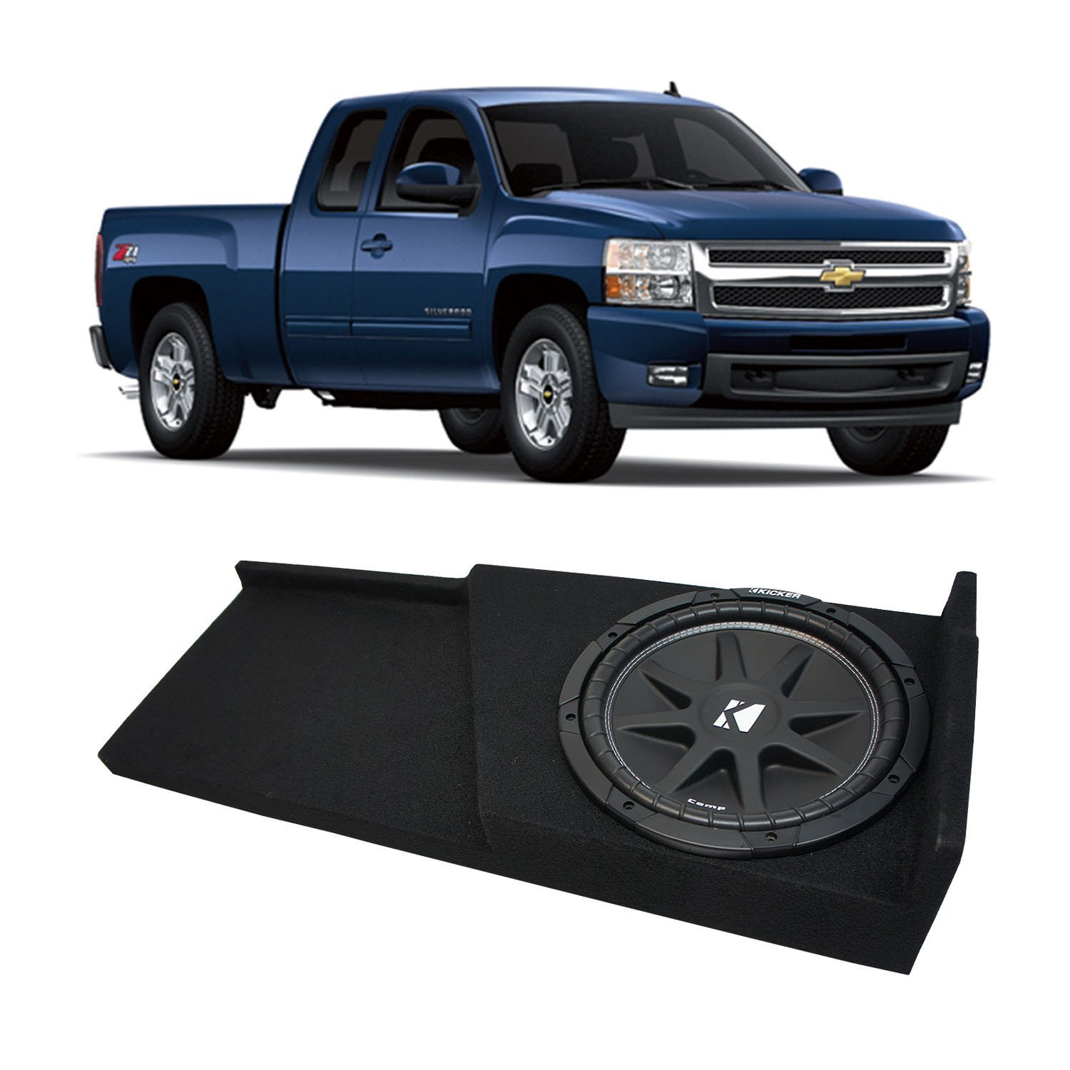 2007-2013 Chevy Silverado Ext Cab Truck Kicker Comp C12 Single 12 Sub Box Enclosure - Final 4 Ohm