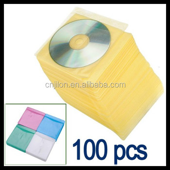 100pcs CD DVD Double Sided Cover Storage Case Bag Plastic Sleeve Holder