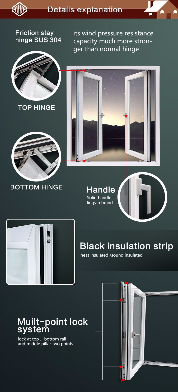 American style PVC double hung lift up slide glass windows