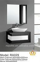 Modern PVC single bowl ceramic basin wall hanging bathroom vanity with mirrored cabinet