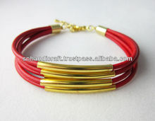 Red Leather Bangle with Gold plated Tubes