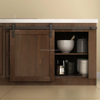 Painted Solid Wood Sliding Arch New Design Mini Kitchen Cabinet Door