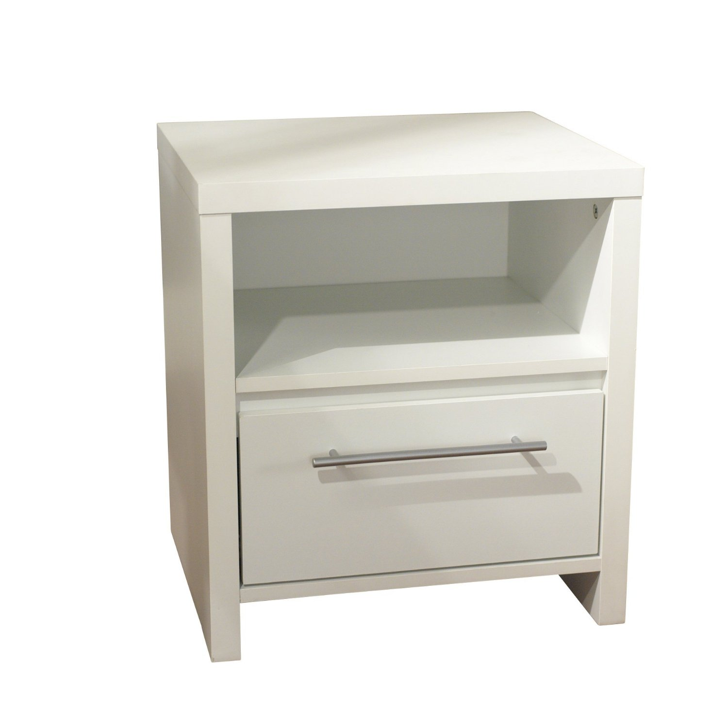 Target Marketing Systems Contemporary Nightstand with 1 Open Shelf and 1 Drawer, White