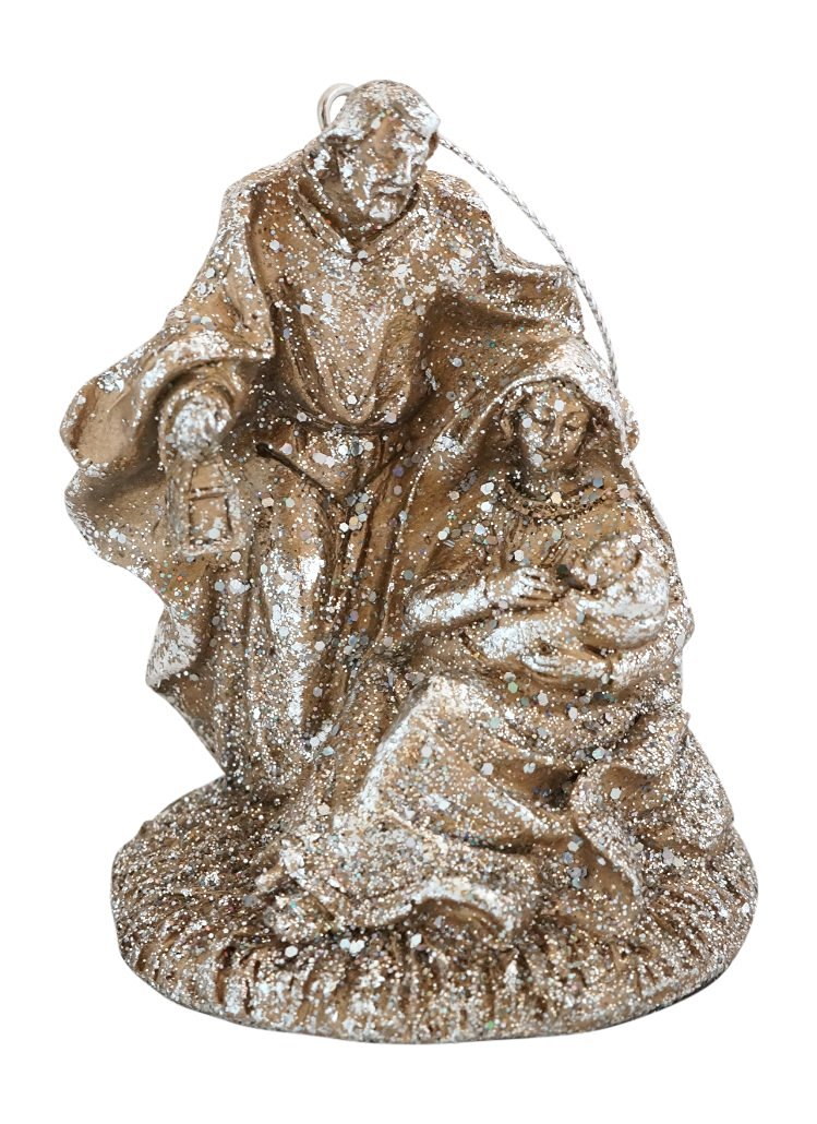 Holy Family Glittered Champagne Gold Christmas Nativity Ornament, 3.5 Inches