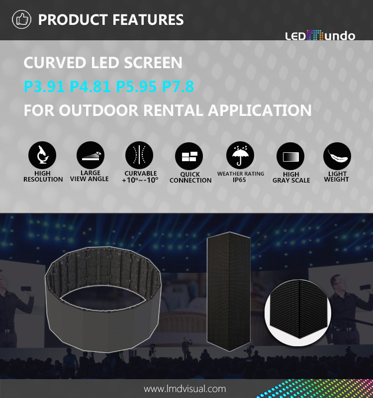 P5.95 SMD Rental curved led screen outdoor Full Color Video Wall Flexible Displays Cabinet Back Stage Pantalla Gigante