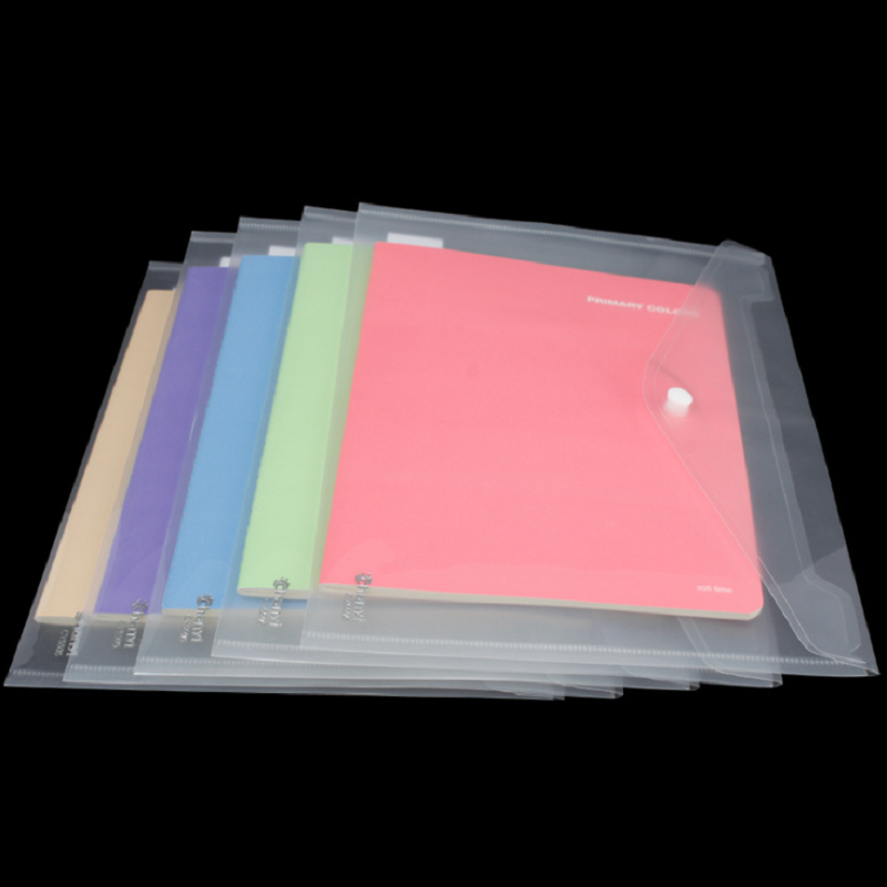 Transparent Plastic A4 Size Envelop File Bag With Fastener Document Folder PVC File Bag With Snap Button