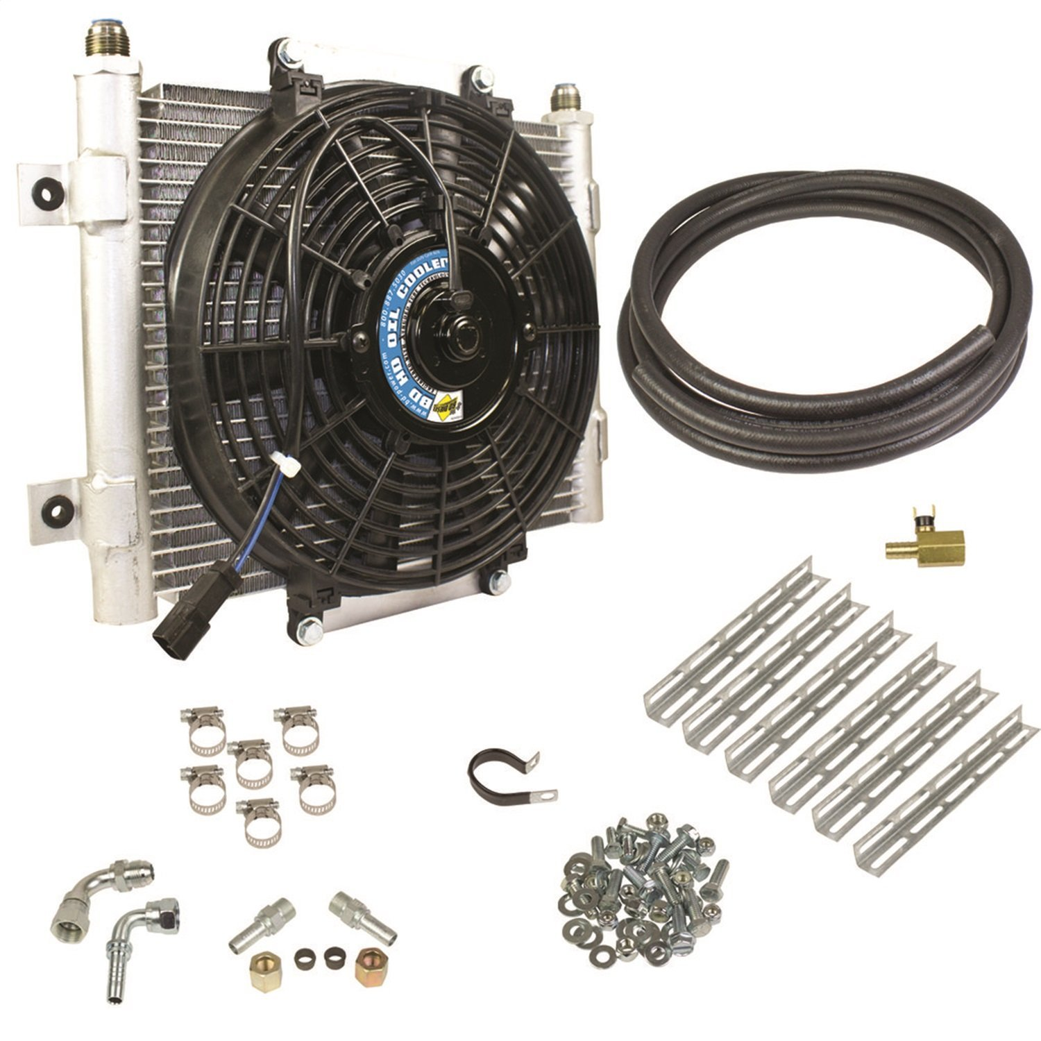 11 x 7 1//2 x 1 3//4 with an Fittings Flex-a-lite 700021 Remote Mount Stacked Plate 21-Row Engine-Oil Cooler with Electric Fan,