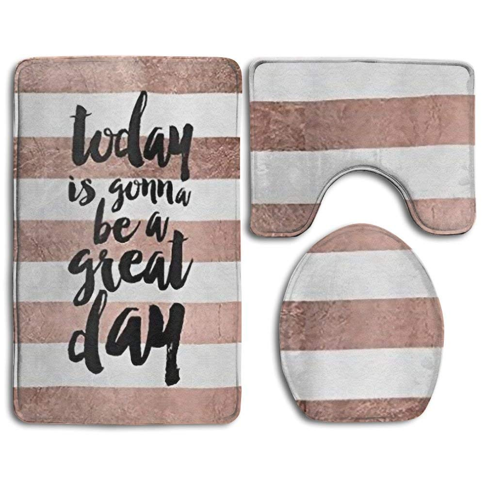 Get Quotations Ufashional Quote Great Day Typography Rose Gold Stripe Non Slip Bathroom Bath Mat Rug Set