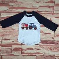 boy's valentine day t-shirt truck heart embroidery clothing wholesale children's boutique clothing kid clothes boy's heart shirt