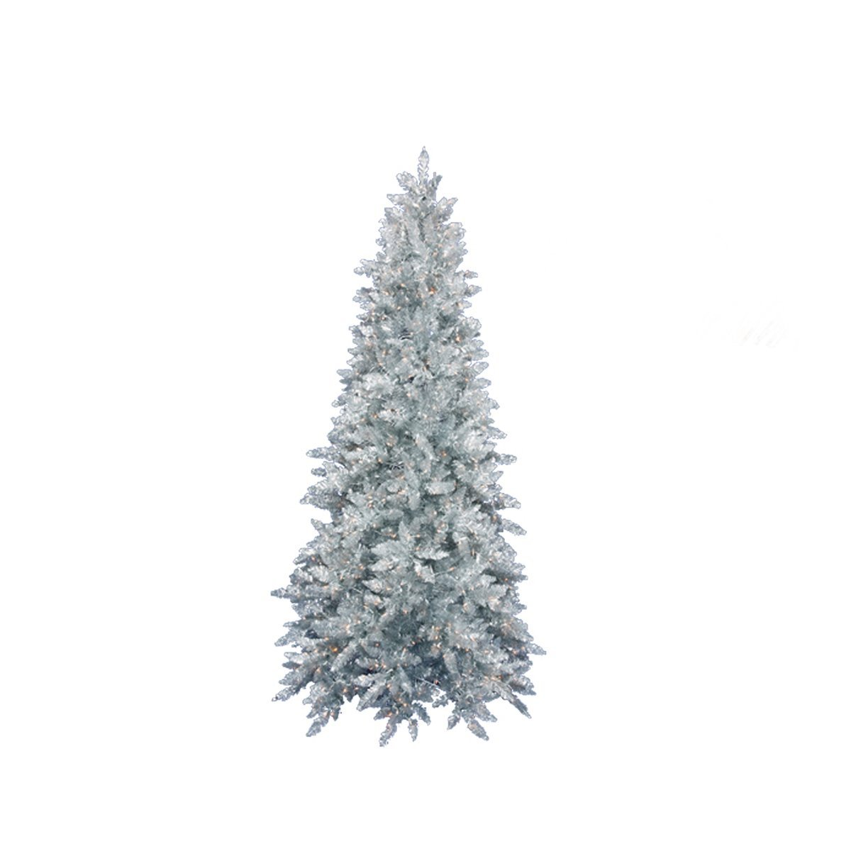Vickerman Pre-Lit Slim Silver Ashley Spruce Tinsel Christmas Tree with Clear Lights, 4.5'