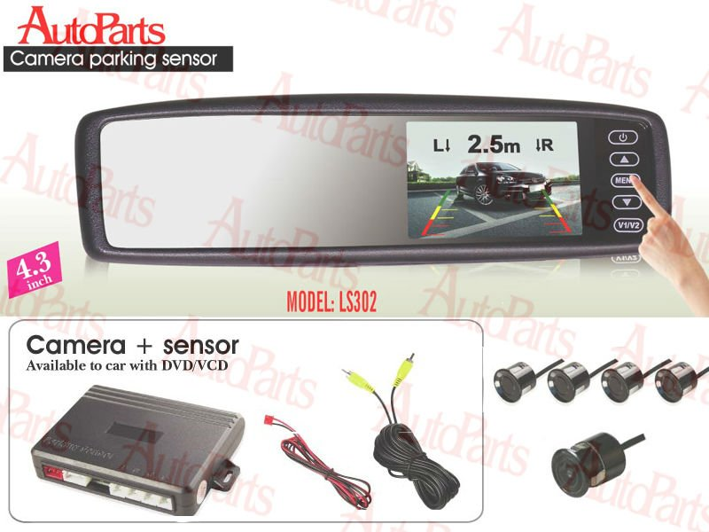 Touch screen rearview LCD Monitor Parking sensor with 4 sensors with one night Camera